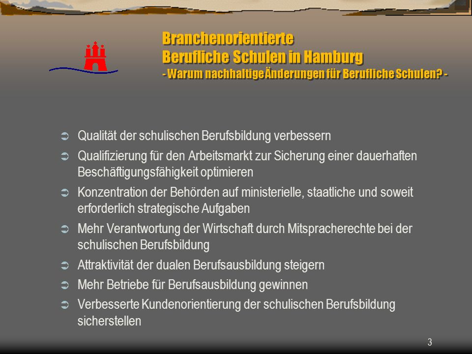 3 Branchenorientierte Berufliche Schulen in Hamburg - Warum nachhaltige Änderungen für Berufliche Schulen? - Qualität der schulischen Berufsbildung ve
