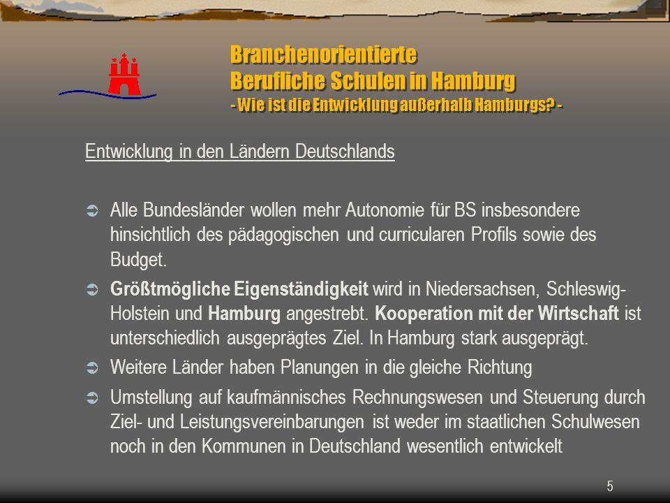 5 Branchenorientierte Berufliche Schulen in Hamburg - Wie ist die Entwicklung außerhalb Hamburgs? - Entwicklung in den Ländern Deutschlands Alle Bunde