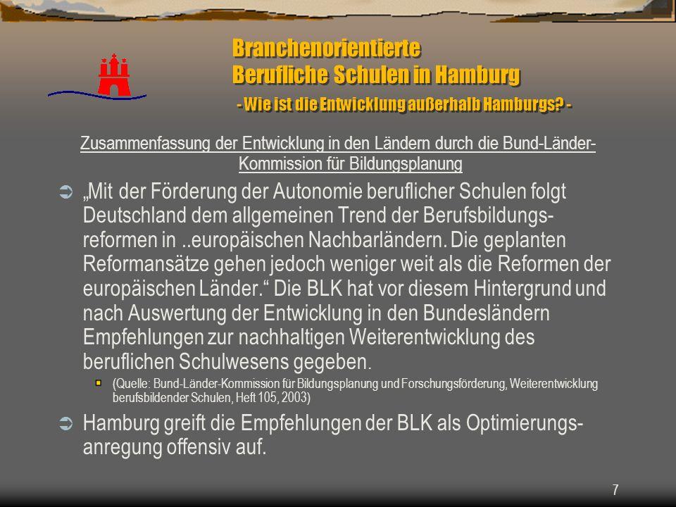 7 Branchenorientierte Berufliche Schulen in Hamburg - Wie ist die Entwicklung außerhalb Hamburgs? - Zusammenfassung der Entwicklung in den Ländern dur