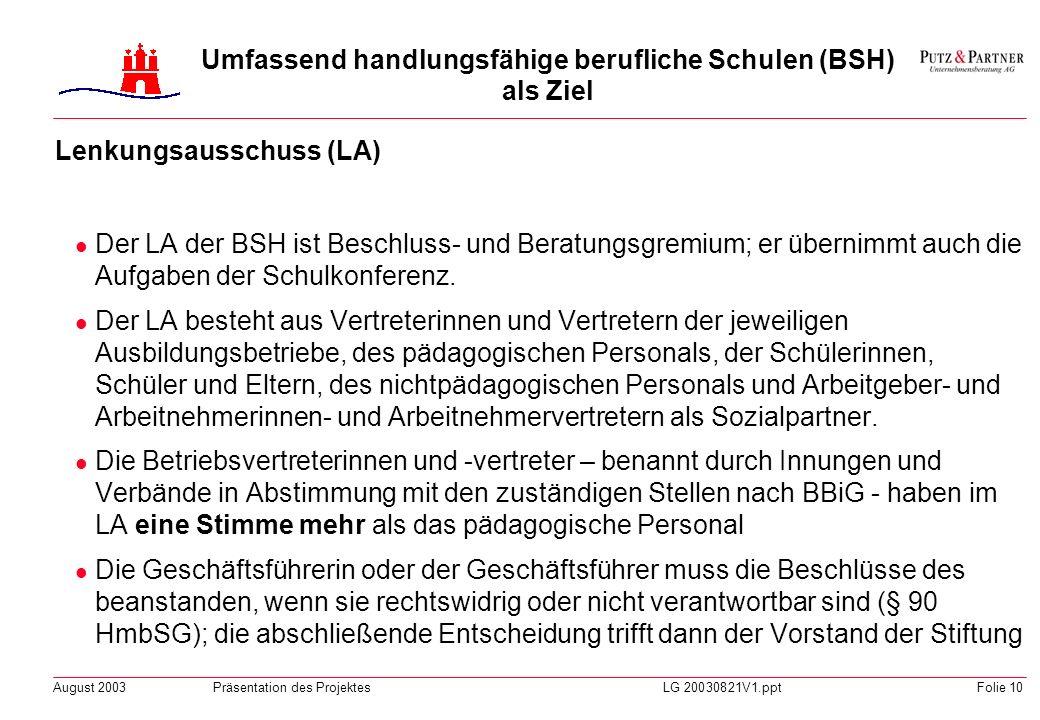 August 2003Präsentation des ProjektesLG 20030821V1.pptFolie 9 BSH Stiftung Kuratorium 8 Vertr. Staat / 2 Vertr. Gewerkschaften 10 Vertr. Wirtschaft Le