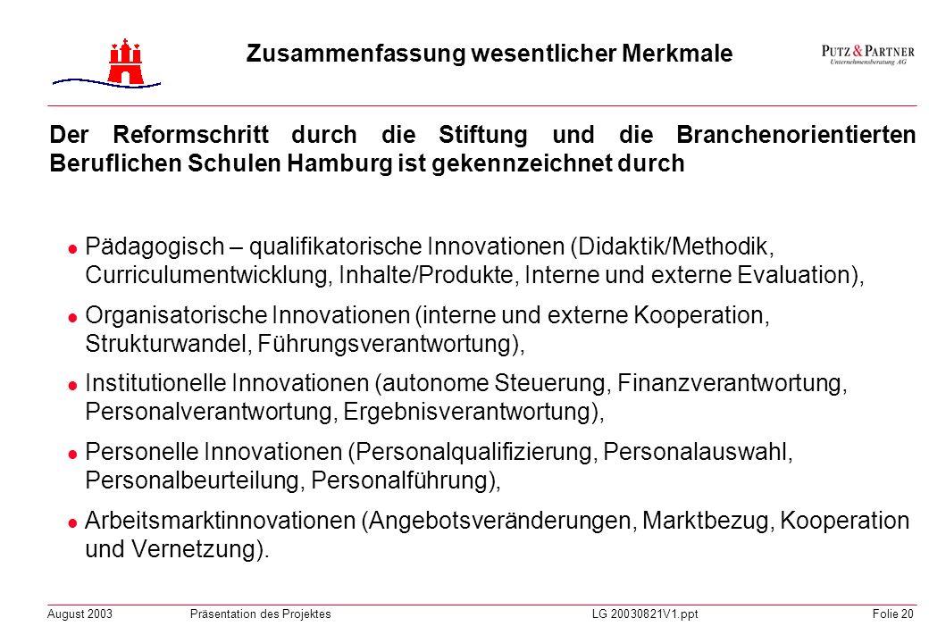 August 2003Präsentation des ProjektesLG 20030821V1.pptFolie 19 Die Organisation der Stiftung und der Branchenorientierten Beruflichen Schulen Hamburg