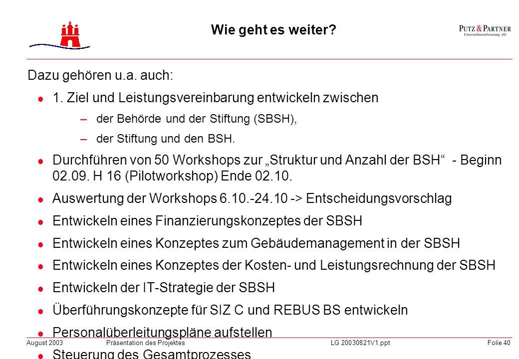 August 2003Präsentation des ProjektesLG 20030821V1.pptFolie 39 Wie geht es weiter? Umsetzung des Stiftungsmodells Arbeitsfähigkeit der Stiftung zum 1.