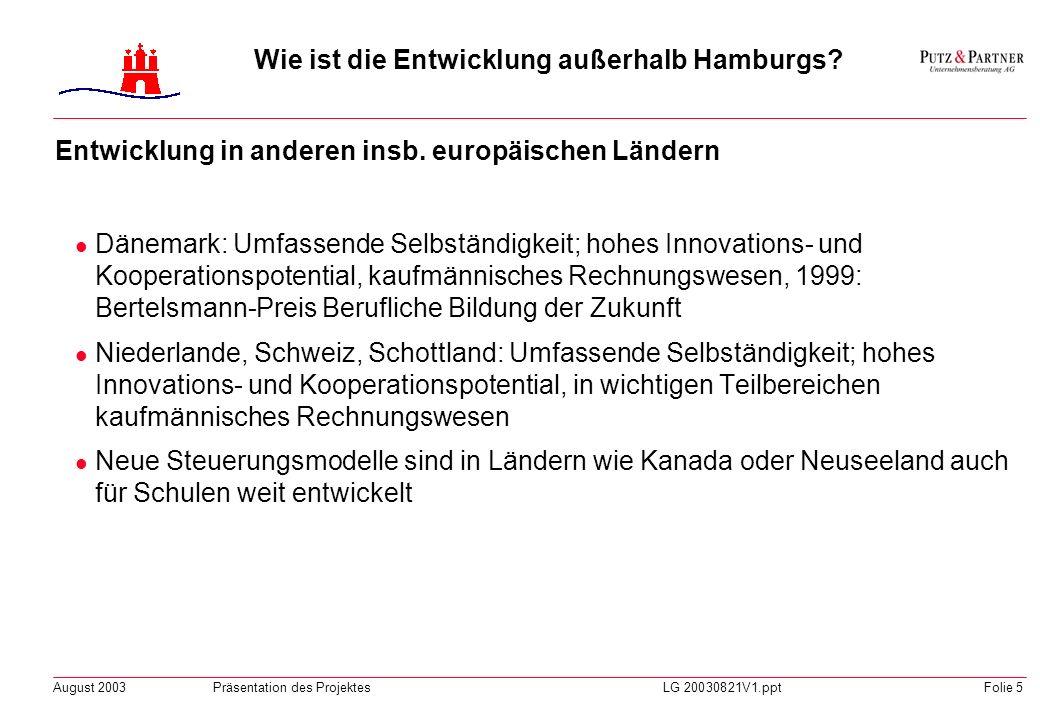 August 2003Präsentation des ProjektesLG 20030821V1.pptFolie 4 Wie ist die Entwicklung außerhalb Hamburgs? Entwicklung in den Ländern Deutschlands Alle