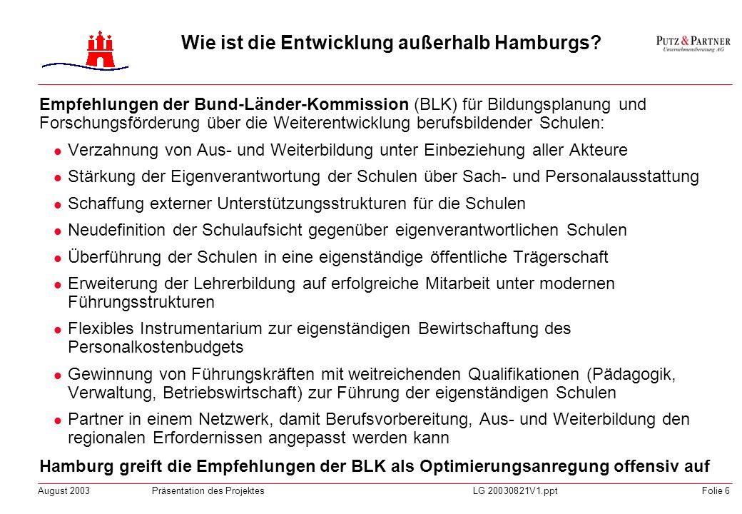 August 2003Präsentation des ProjektesLG 20030821V1.pptFolie 5 Wie ist die Entwicklung außerhalb Hamburgs? Entwicklung in anderen insb. europäischen Lä