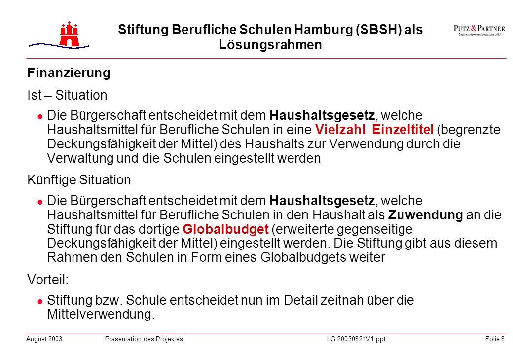 August 2003Präsentation des ProjektesLG 20030821V1.pptFolie 7 Stiftung Berufliche Schulen Hamburg (SBSH) als Lösungsrahmen Lösung Gründung einer Stift