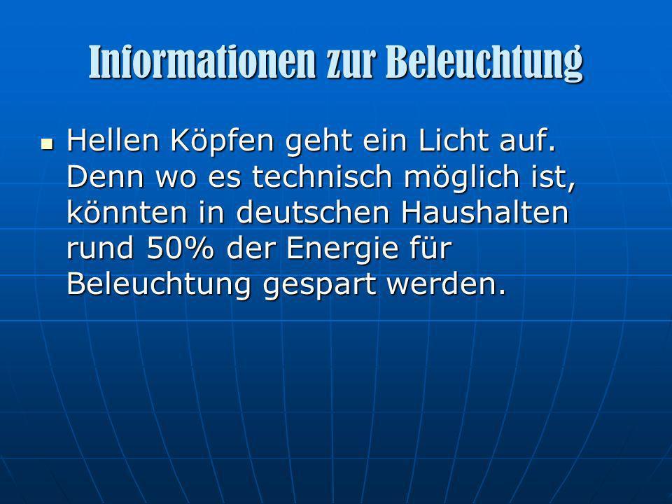 Informationen zur Beleuchtung Hellen Köpfen geht ein Licht auf. Denn wo es technisch möglich ist, könnten in deutschen Haushalten rund 50% der Energie