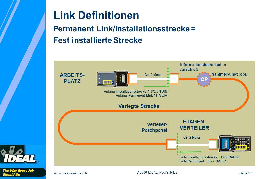 Seite 13www.idealindustries.de © 2006 IDEAL INDUSTRIES Link Definitionen Permanent Link/Installationsstrecke = Fest installierte Strecke ARBEITS- PLAT