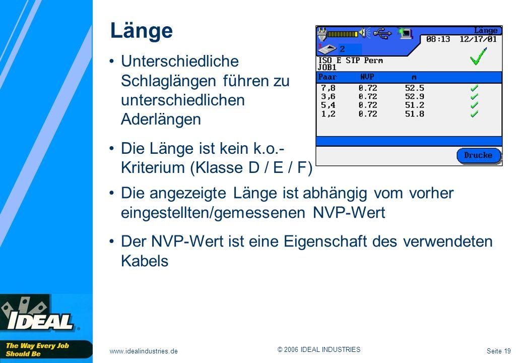 Seite 19www.idealindustries.de © 2006 IDEAL INDUSTRIES Länge Die angezeigte Länge ist abhängig vom vorher eingestellten/gemessenen NVP-Wert Der NVP-We