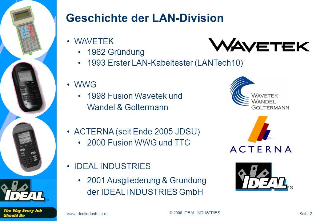 Seite 33www.idealindustries.de © 2006 IDEAL INDUSTRIES Laufzeit (Delay):Signallaufzeit in Nano-Sekunden Differenz (Skew):Signallaufzeitunterschied in Nano-Sekunden Laufzeit und Differenz