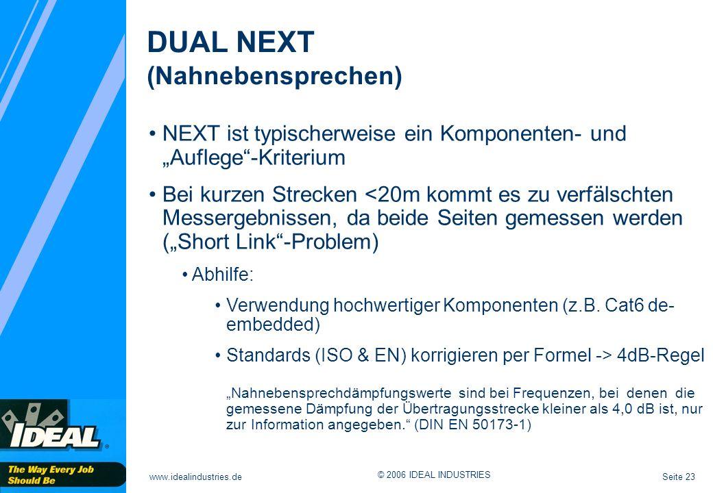 Seite 23www.idealindustries.de © 2006 IDEAL INDUSTRIES DUAL NEXT (Nahnebensprechen) NEXT ist typischerweise ein Komponenten- und Auflege-Kriterium Bei