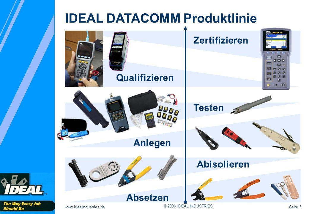 Seite 3www.idealindustries.de © 2006 IDEAL INDUSTRIES IDEAL DATACOMM Produktlinie Zertifizieren Qualifizieren Testen Anlegen Abisolieren Absetzen