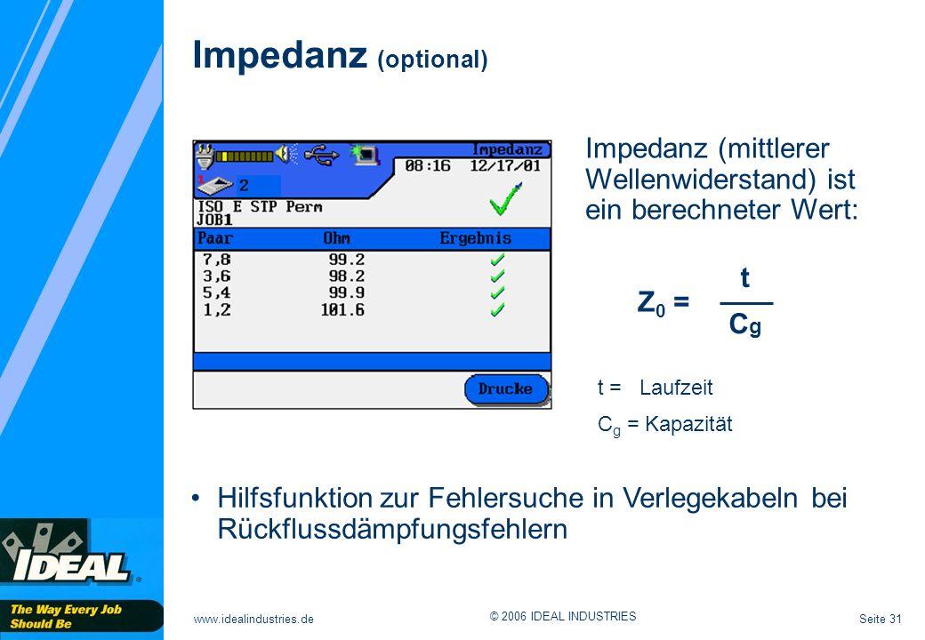 Seite 31www.idealindustries.de © 2006 IDEAL INDUSTRIES Impedanz (optional) Impedanz (mittlerer Wellenwiderstand) ist ein berechneter Wert: Z 0 = t CgC