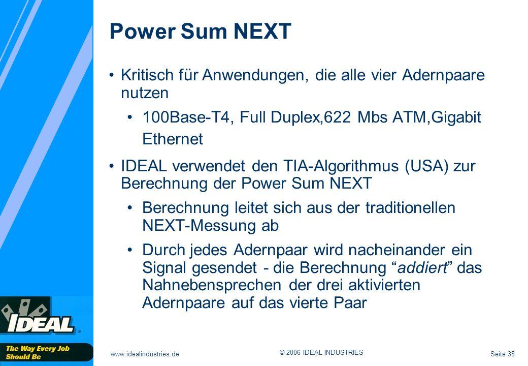 Seite 38www.idealindustries.de © 2006 IDEAL INDUSTRIES Kritisch für Anwendungen, die alle vier Adernpaare nutzen 100Base-T4, Full Duplex,622 Mbs ATM,G
