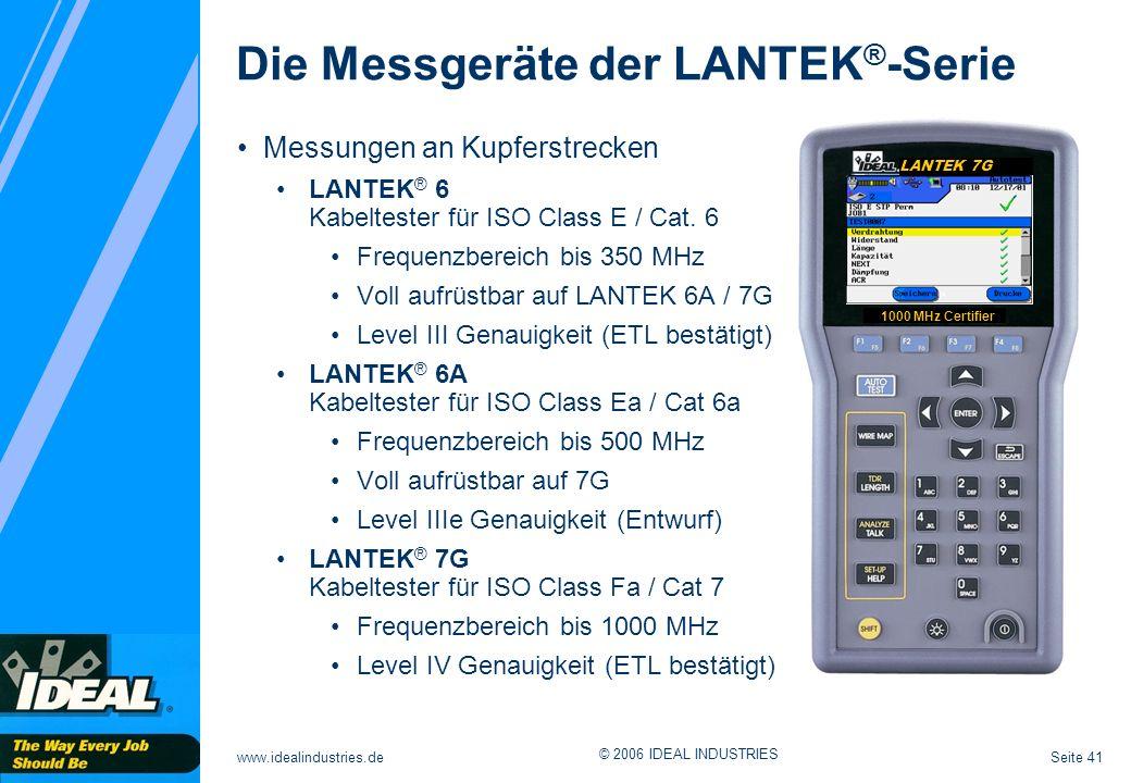 Seite 41www.idealindustries.de © 2006 IDEAL INDUSTRIES LANTEK 7G 1000 MHz Certifier Messungen an Kupferstrecken LANTEK ® 6 Kabeltester für ISO Class E