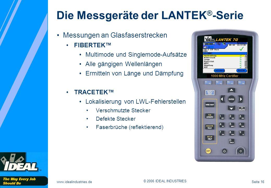 Seite 16www.idealindustries.de © 2006 IDEAL INDUSTRIES LANTEK 7G 1000 MHz Certifier Messungen an Glasfaserstrecken FIBERTEK Multimode und Singlemode-A