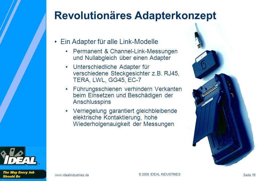 Seite 18www.idealindustries.de © 2006 IDEAL INDUSTRIES Revolutionäres Adapterkonzept Ein Adapter für alle Link-Modelle Permanent & Channel-Link-Messungen und Nullabgleich über einen Adapter Unterschiedliche Adapter für verschiedene Steckgesichter z.B.