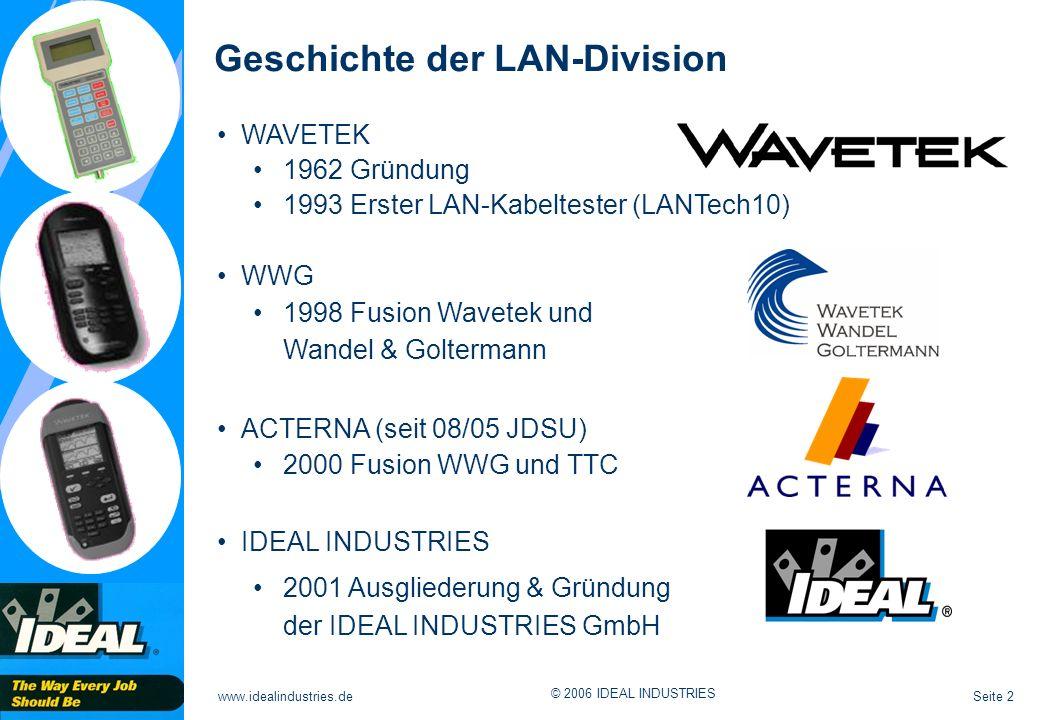 Seite 2www.idealindustries.de © 2006 IDEAL INDUSTRIES Geschichte der LAN-Division WAVETEK 1962 Gründung 1993 Erster LAN-Kabeltester (LANTech10) WWG 19