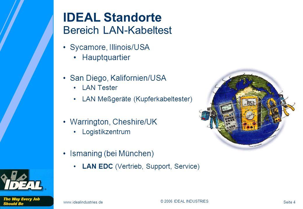 Seite 4www.idealindustries.de © 2006 IDEAL INDUSTRIES Sycamore, Illinois/USA Hauptquartier San Diego, Kalifornien/USA LAN Tester LAN Meßgeräte (Kupferkabeltester) Warrington, Cheshire/UK Logistikzentrum Ismaning (bei München) LAN EDC (Vertrieb, Support, Service) IDEAL Standorte Bereich LAN-Kabeltest