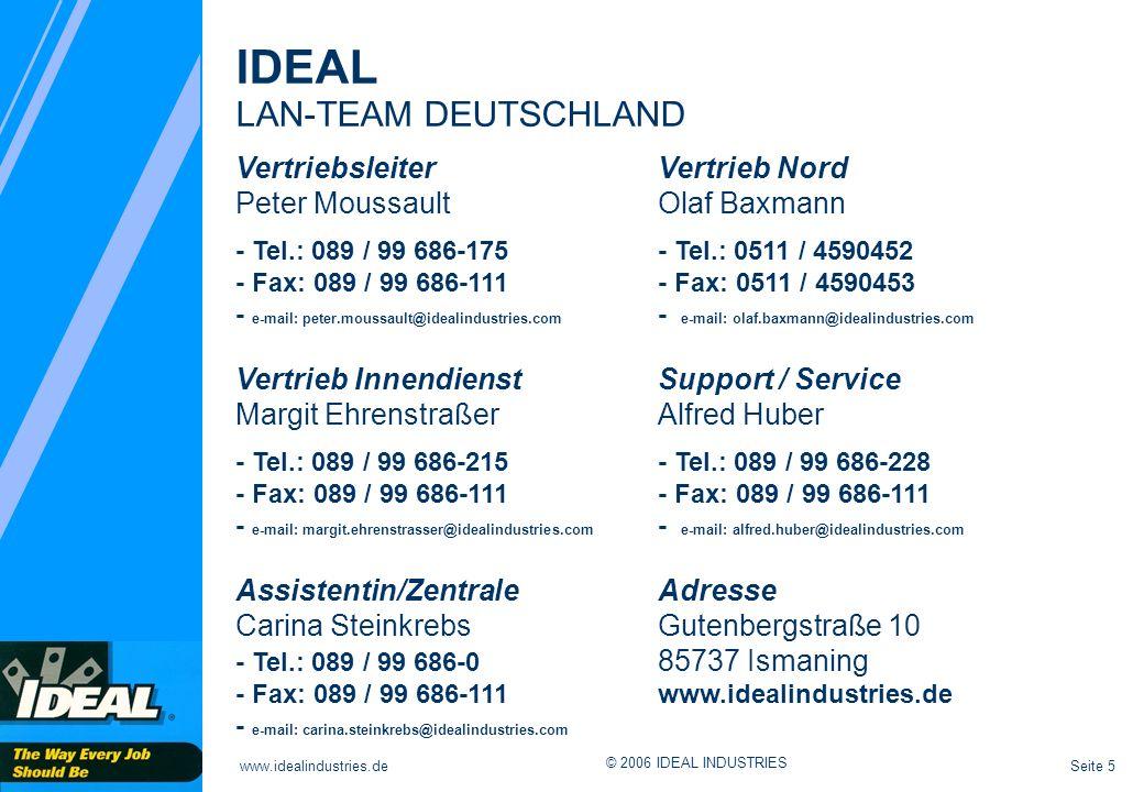 Seite 5www.idealindustries.de © 2006 IDEAL INDUSTRIES Vertriebsleiter Vertrieb Nord Peter MoussaultOlaf Baxmann - Tel.: 089 / 99 686-175- Tel.: 0511 /