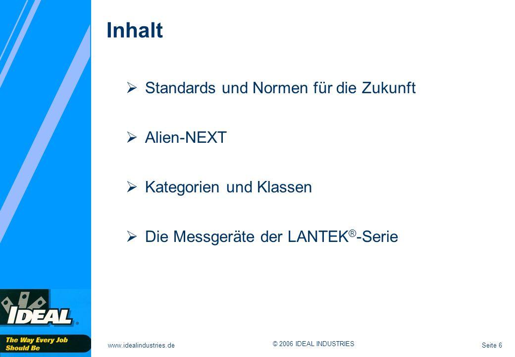 Seite 6www.idealindustries.de © 2006 IDEAL INDUSTRIES Inhalt Standards und Normen für die Zukunft Alien-NEXT Kategorien und Klassen Die Messgeräte der