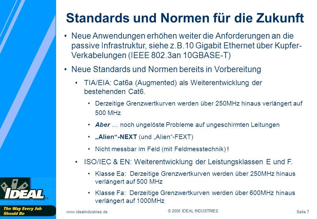 Seite 7www.idealindustries.de © 2006 IDEAL INDUSTRIES Standards und Normen für die Zukunft Neue Anwendungen erhöhen weiter die Anforderungen an die passive Infrastruktur, siehe z.B.10 Gigabit Ethernet über Kupfer- Verkabelungen (IEEE 802.3an 10GBASE-T) Neue Standards und Normen bereits in Vorbereitung TIA/EIA: Cat6a (Augmented) als Weiterentwicklung der bestehenden Cat6.