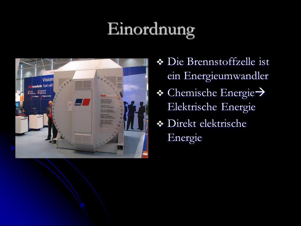 Einordnung Die Brennstoffzelle ist ein Energieumwandler Die Brennstoffzelle ist ein Energieumwandler Chemische Energie Elektrische Energie Chemische E