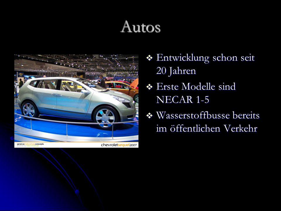 Autos Entwicklung schon seit 20 Jahren Entwicklung schon seit 20 Jahren Erste Modelle sind NECAR 1-5 Erste Modelle sind NECAR 1-5 Wasserstoffbusse ber