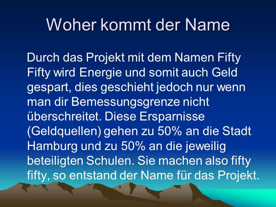 Woher kommt der Name Durch das Projekt mit dem Namen Fifty Fifty wird Energie und somit auch Geld gespart, dies geschieht jedoch nur wenn man dir Beme
