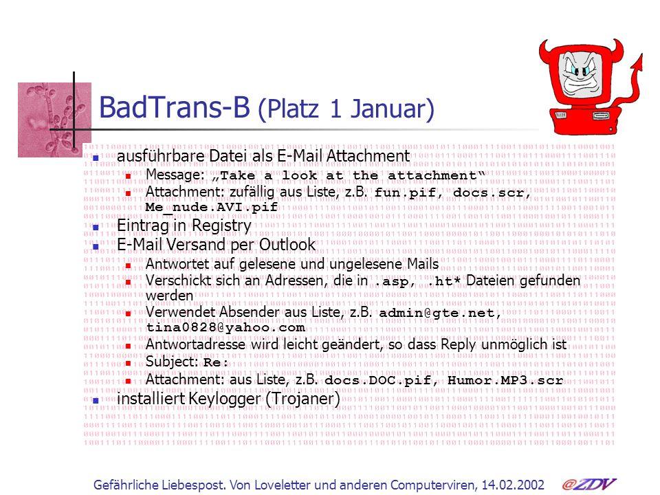 Gefährliche Liebespost. Von Loveletter und anderen Computerviren, 14.02.2002 BadTrans-B (Platz 1 Januar) ausführbare Datei als E-Mail Attachment Messa