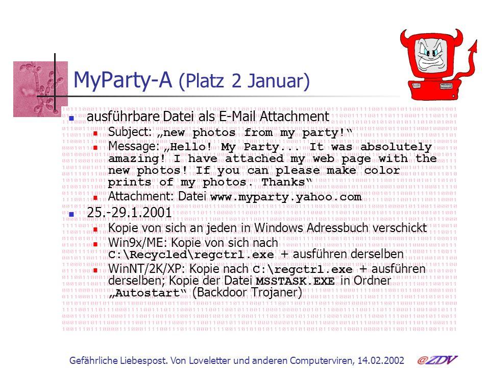 Gefährliche Liebespost. Von Loveletter und anderen Computerviren, 14.02.2002 MyParty-A (Platz 2 Januar) ausführbare Datei als E-Mail Attachment Subjec