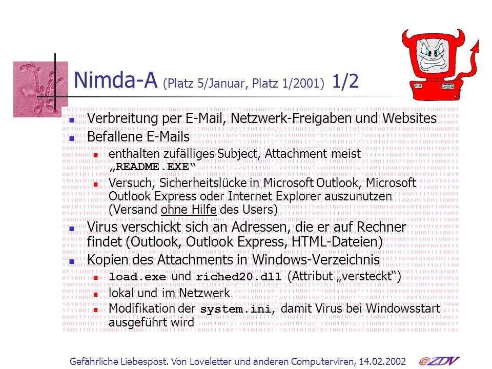 Gefährliche Liebespost. Von Loveletter und anderen Computerviren, 14.02.2002 Nimda-A (Platz 5/Januar, Platz 1/2001) 1/2 Verbreitung per E-Mail, Netzwe