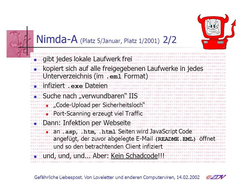 Gefährliche Liebespost. Von Loveletter und anderen Computerviren, 14.02.2002 Nimda-A (Platz 5/Januar, Platz 1/2001) 2/2 gibt jedes lokale Laufwerk fre