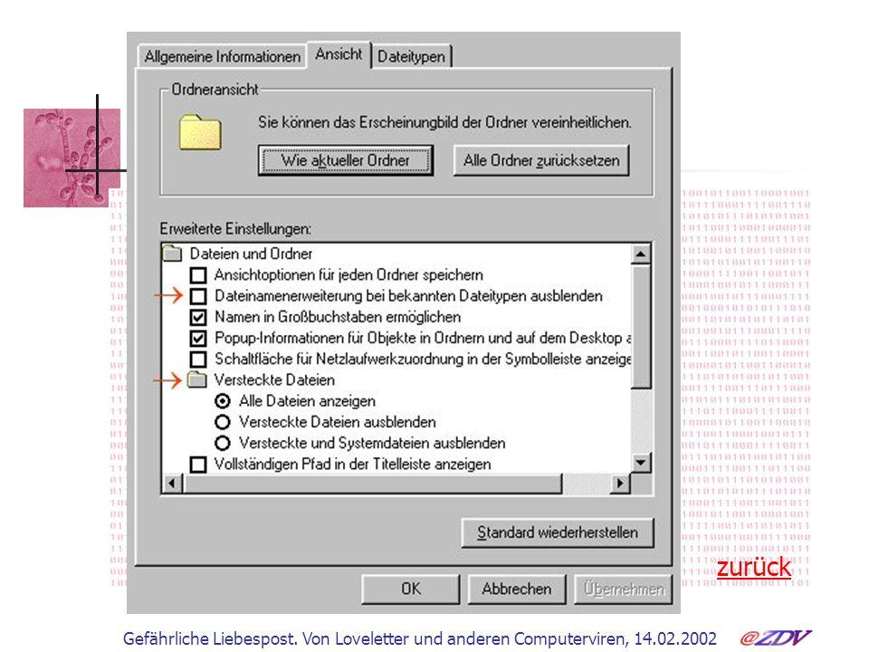 Gefährliche Liebespost. Von Loveletter und anderen Computerviren, 14.02.2002 Dateinamenserweiterungen zurück
