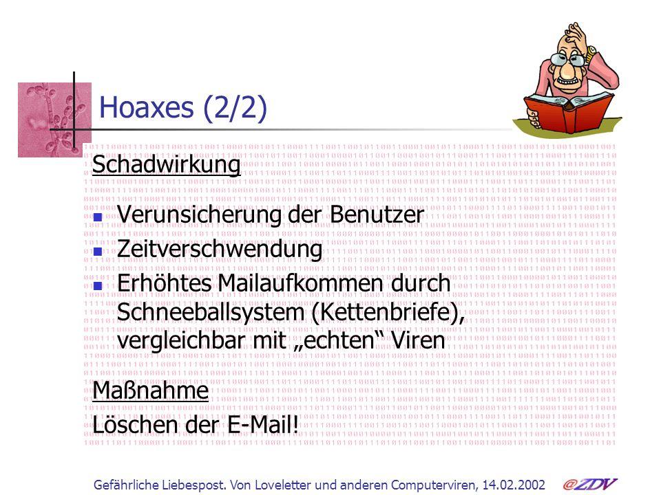 Gefährliche Liebespost. Von Loveletter und anderen Computerviren, 14.02.2002 Hoaxes (2/2) Schadwirkung Verunsicherung der Benutzer Zeitverschwendung E