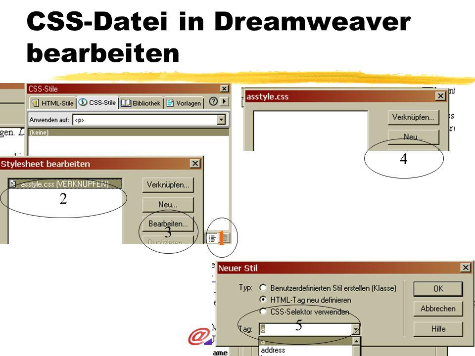 CSS-Datei in Dreamweaver bearbeiten 1 3 2 4 5
