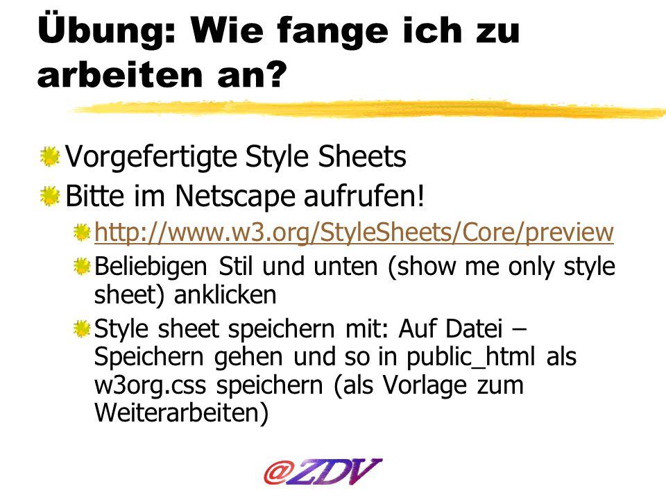 Übung: Wie fange ich zu arbeiten an? Vorgefertigte Style Sheets Bitte im Netscape aufrufen! http://www.w3.org/StyleSheets/Core/preview Beliebigen Stil