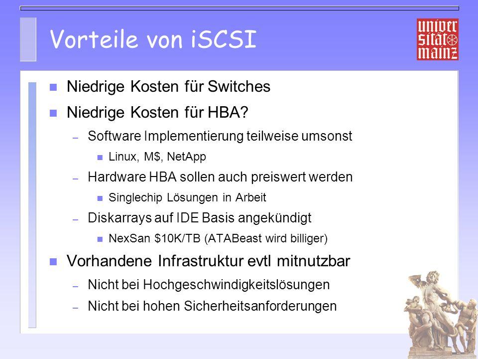 Vorteile von iSCSI Niedrige Kosten für Switches Niedrige Kosten für HBA.