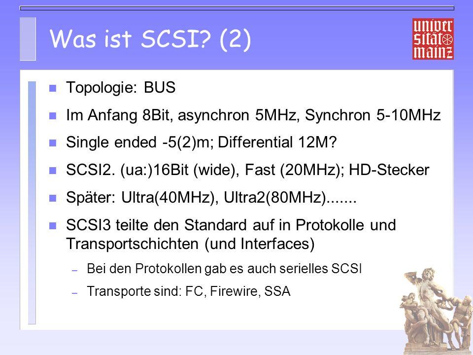 Probleme von SCSI Dicke Kabel mit monströsem Stecker: Fehlerträchtig 16(7) Geräte Kabellängen klein besonders bei SE Multihosting erfordert DIFF sonst instabil DIFF teuer und selten BUS!?.