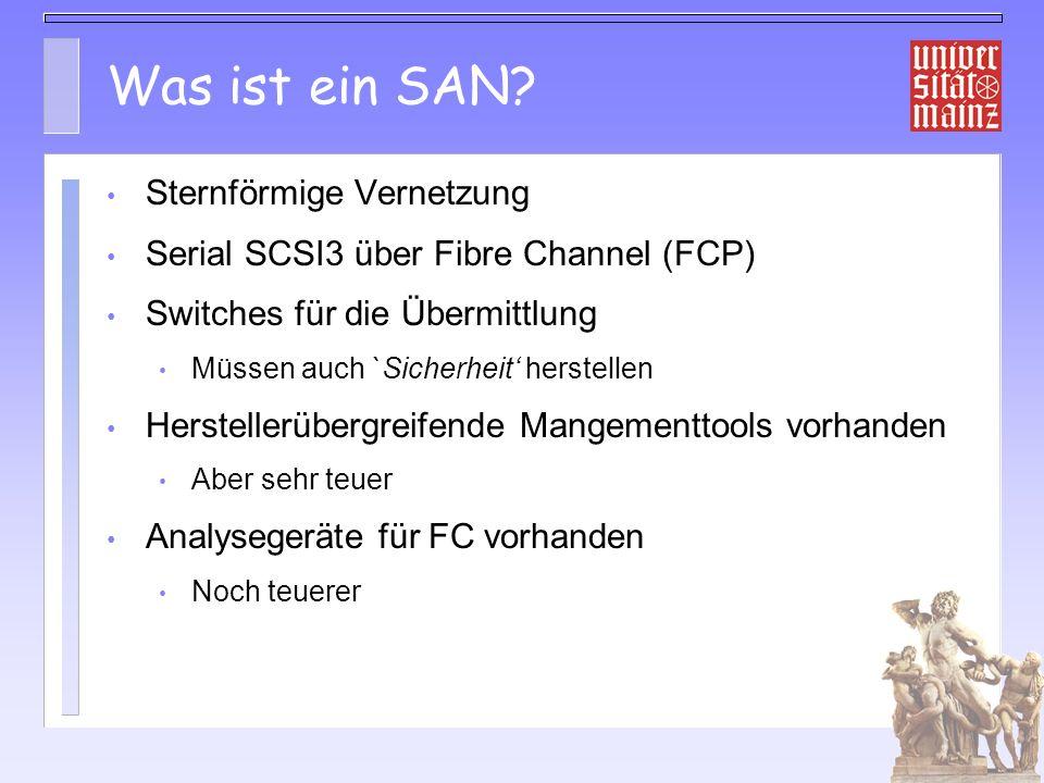iSCSI Tests 0 10.2002 Cisco SN5420 an unserem SAN Linux Driver Draft 8, – Arbeitsplatzrechner über 100MBit und das ganze Campusnetz – DELL 2650 über GBit und wenige Switches Zugriff auf JBoD Platten und T3 Zugriff klappt mkfs übersteht auch 1-2 Minutenlange Netzstörung Performance an 100MBit 11.5 MB/s Performance über GBit limitiert durch SB5420 60-70MB/sec gemessen (Cisco: 70-80 mit Tuning)