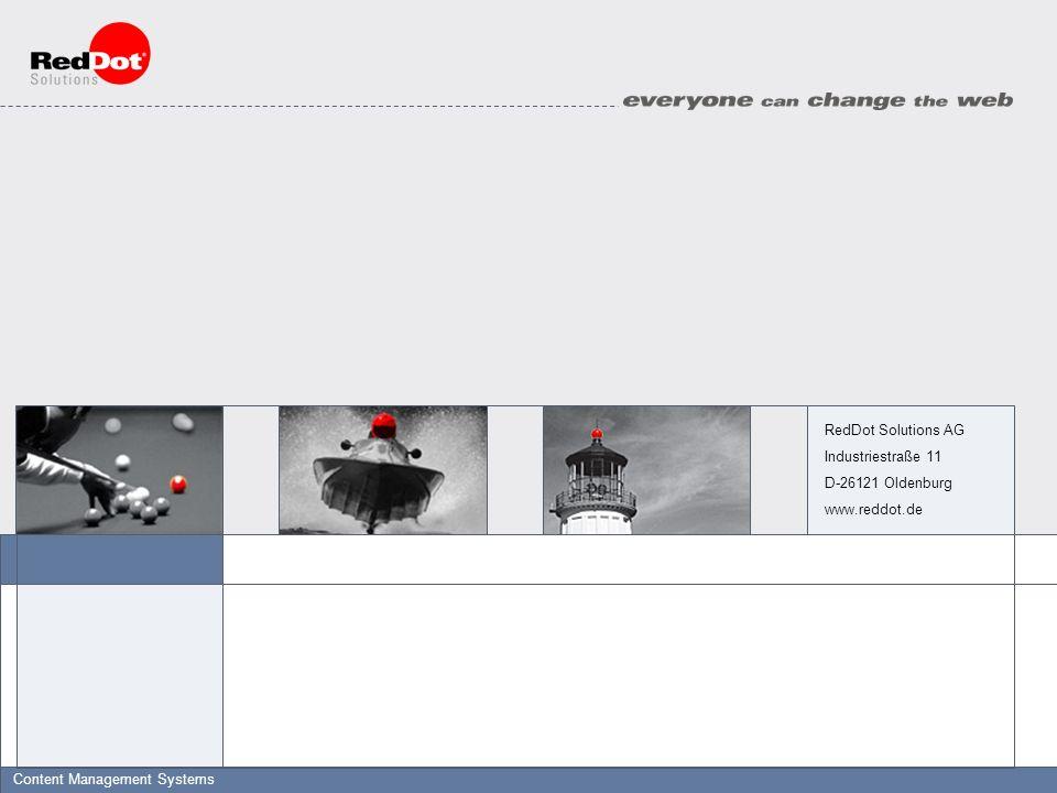 © RedDot Solutions 2001Slide 2Titel of Presentation - Date - Author RedDot Web-Server Browser Datenhaltung & Kontensysteme Architektur Datenspeicherung in be- liebiger ODBC-Datenbank Microsoft IIS Redakteur Workflow-basierte Bearbeitung von Content, dynamische Vorschau RedDot CMS oder: Abruf statischer, generierter Seiten Beliebiger Web-Server RedDot CIS Dynamische Auslieferung bzw.