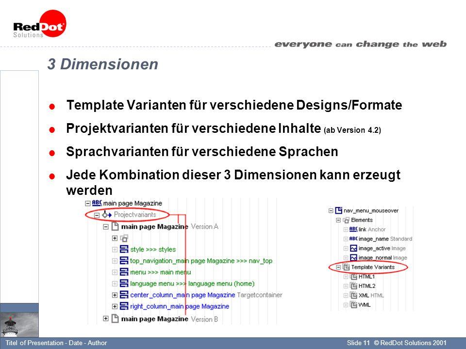 © RedDot Solutions 2001Slide 11Titel of Presentation - Date - Author 3 Dimensionen Template Varianten für verschiedene Designs/Formate Projektvarianten für verschiedene Inhalte (ab Version 4.2) Sprachvarianten für verschiedene Sprachen Jede Kombination dieser 3 Dimensionen kann erzeugt werden