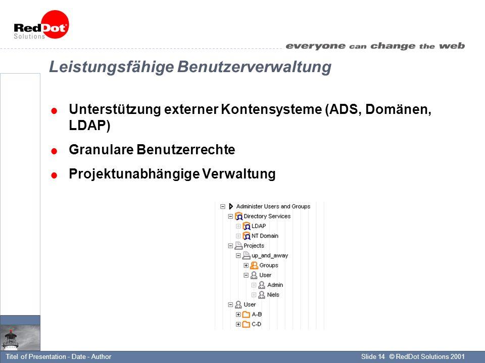 © RedDot Solutions 2001Slide 14Titel of Presentation - Date - Author Leistungsfähige Benutzerverwaltung Unterstützung externer Kontensysteme (ADS, Domänen, LDAP) Granulare Benutzerrechte Projektunabhängige Verwaltung