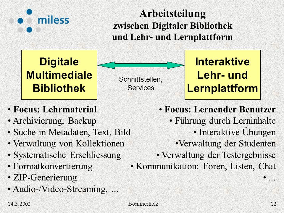 1214.3.2002Bommerholz Arbeitsteilung zwischen Digitaler Bibliothek und Lehr- und Lernplattform Digitale Multimediale Bibliothek Interaktive Lehr- und