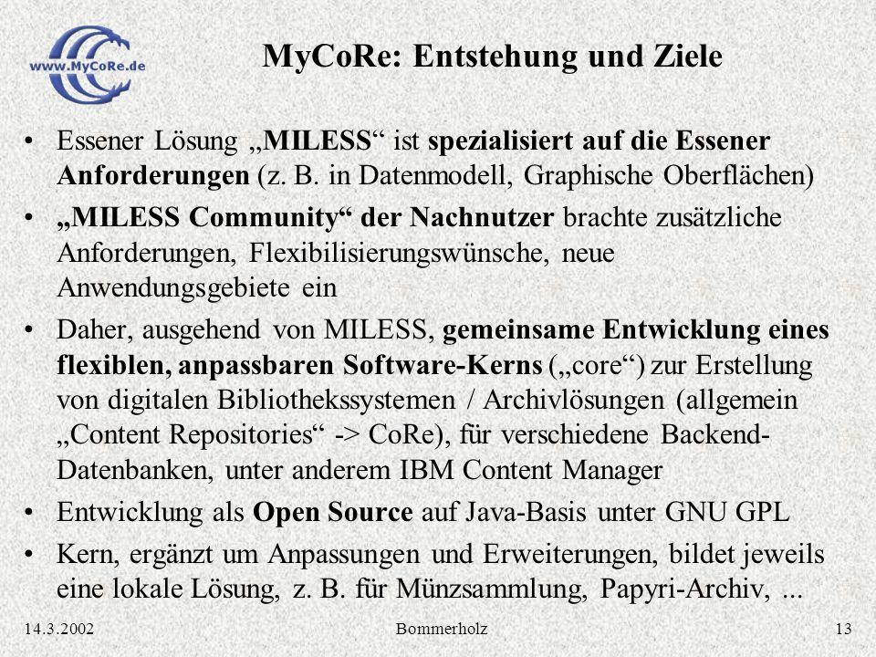 1314.3.2002Bommerholz Essener Lösung MILESS ist spezialisiert auf die Essener Anforderungen (z. B. in Datenmodell, Graphische Oberflächen) MILESS Comm