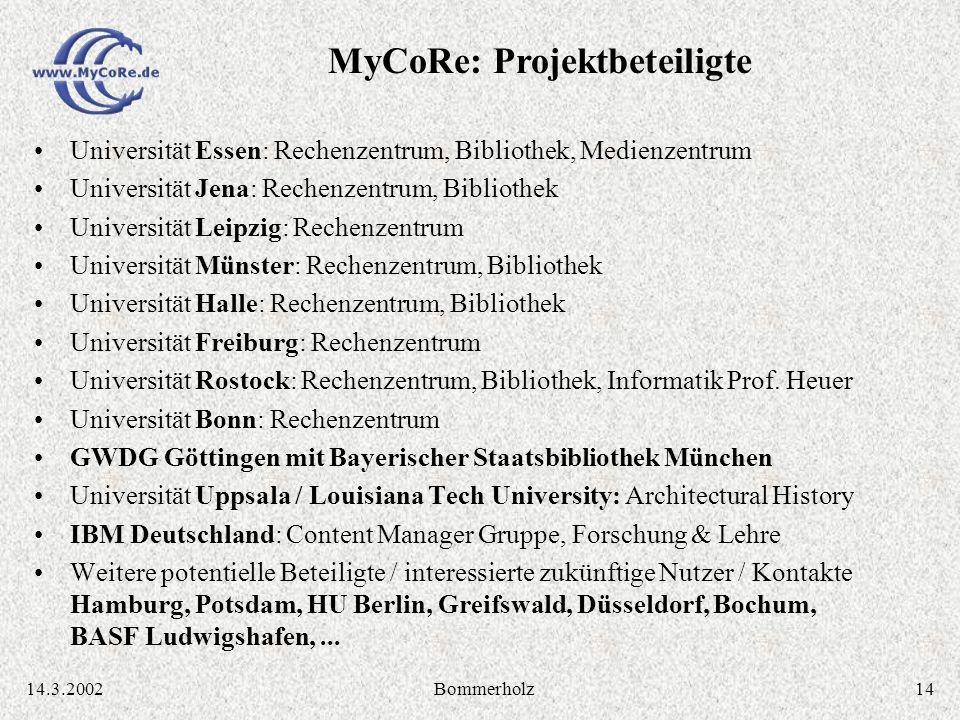 1414.3.2002Bommerholz Universität Essen: Rechenzentrum, Bibliothek, Medienzentrum Universität Jena: Rechenzentrum, Bibliothek Universität Leipzig: Rec