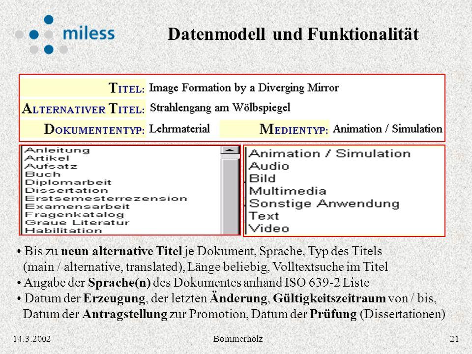 2114.3.2002Bommerholz Bis zu neun alternative Titel je Dokument, Sprache, Typ des Titels (main / alternative, translated), Länge beliebig, Volltextsuc