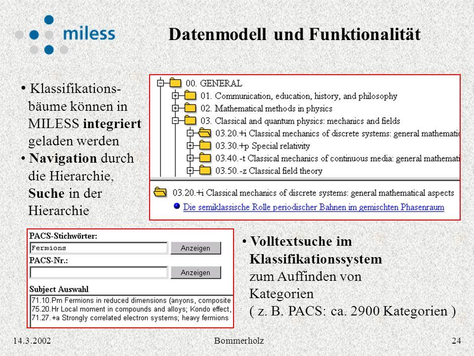 2414.3.2002Bommerholz Klassifikations- bäume können in MILESS integriert geladen werden Navigation durch die Hierarchie, Suche in der Hierarchie Volltextsuche im Klassifikationssystem zum Auffinden von Kategorien ( z.