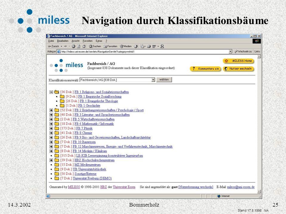 2514.3.2002Bommerholz Stand 17.8.1998 NA Navigation durch Klassifikationsbäume