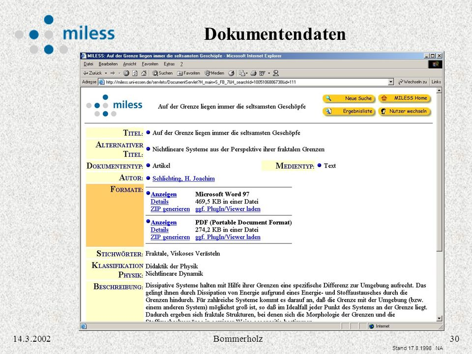 3014.3.2002Bommerholz Stand 17.8.1998 NA Dokumentendaten