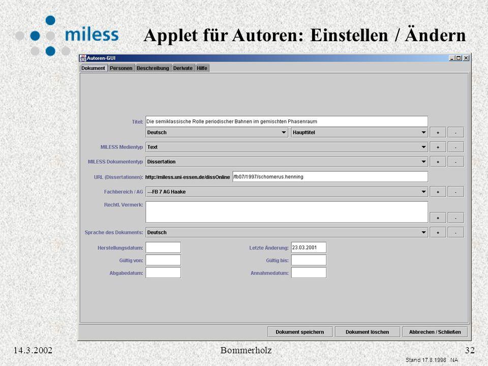 3214.3.2002Bommerholz Stand 17.8.1998 NA Applet für Autoren: Einstellen / Ändern